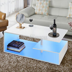 LED High Gloss Coffee Table with 2 Drawer Side End Table Living Room Furniture $115.99