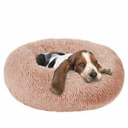 Dog Beds Calming Donut Cuddler Puppy Dog Beds Large Large 24#x27;#x27;x18#x27;#x27; Pink $44.72