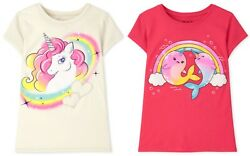 NWT The Childrens Place Gold Narwhal Unicorn Girls Short Sleeve Shirt $8.99