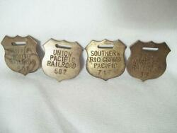 4 BRASS RAILROAD TAGS FOBS SANTA FE GREAT NORTHERN SOUTHERN RIO GRAND UNION PAC $18.95