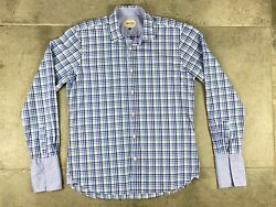 Ted Baker Archive Mens 16 Blue Plaid French Cuff Egyptian Cotton Button Up Shirt $19.98