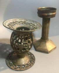 Lot of vintage brass candle holders 2 $21.89