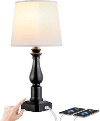 Touch Control 3 Way Dimmable Table Lamp with 2 Fast USB Charging Ports $34.99
