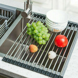 Kitchen Stainless Steel Sink Drain Rack Roll Up Dish Food Drying Drainer Mat XXL $9.95