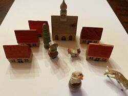 Vintage Wooden mini village Made in USSR Occupied Germany Houses Church Chicken $14.95