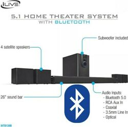 iLive 5.1 Home Theater System with Bluetooth Subwoofer 26 Inch Speaker remote $87.68