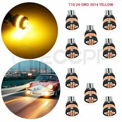 10X White T10 24 SMD 3014 LED yellow License Plate Light Bulbs W5W 192 158 $17.20