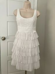 MINUET Pleated Dress SMALL S Cocktail Dress White Anthropologie $25.00