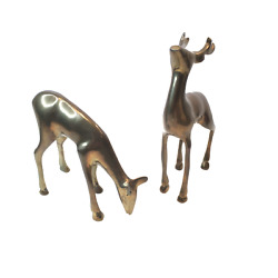 Vintage Brass Deer Set 2 India 4.5 in and 6 in Tall Wildlife Collectibles Decor $23.00