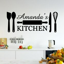 Creative Custom Name Kitchen Vinyl Art Wall Stickers For Kitchen Wall Art Decal $7.64