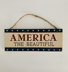 """Farmhouse Rustic Country America The Beautiful Hanging Wood Sign 10"""" X 4"""" $13.95"""