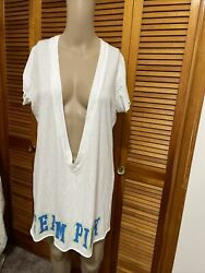 Victoria Secret Pink beach cover up size Large white team pink $9.00