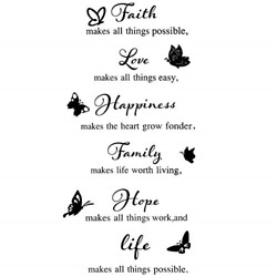 6 Pieces Vinyl Wall Decals Faith Makes All Things Possible Family Wall Decals $8.82