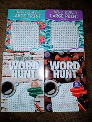 Lot of 4 New LARGE PRINT Puzzle Books Word Search Books Word Finds Word Seeks $11.99