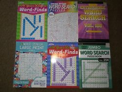 Lot of 6 New LARGE PRINT Word Search Puzzle Books Word Seek Word Finds $15.00