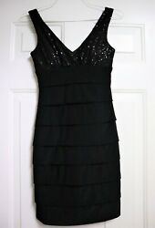 B SMART Black Sequin Prom Party Dress 5 6 Bodycon Slimming $13.99