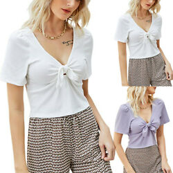 Women Short Sleeve T shirt Blouse Bow knot Plain Casual Slim Party Tunic Tops $20.19