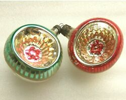 2 Vintage Glass Russian USSR Christmas Xmas Ornaments Decorations Old Lanterns $24.99
