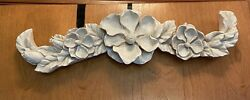 3 D MAGNOLIA FLOWERS RESIN WALL OVER THE DOOR HANGING DECORATION. 22quot; LONG VGC $24.95