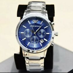 EMPORIO ARMANI MENS AR2448 WATCH BLUE DIAL STAINLESS STEEL £319 RRP NEW GBP 67.99