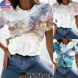Women Print Round Neck Short Sleeve Tops T Shirt Ladies Casual Loose Blouse US $6.99