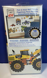 Speed Limit Construction Vehicles Peel And Stick Wall Decals. Kids Decor $15.40