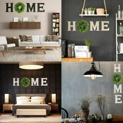 Wooden Framed Home Plaque Signs With Green Wreath Large Signs Wall Hanging Decor $30.99