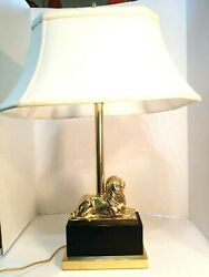 Stunning Brass Lion Dual Socket Lamp on Black Metal Base 23.5quot; Tall Almost 8lbs $85.99
