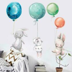 Cute Grey Bunny Rabbit Wall Stickers For Kids Room Deocr Wall Baby Cat R6E1 $7.06
