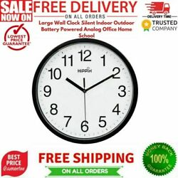 Large Wall Clock Silent Indoor Outdoor Battery Powered Analog Office Home School $10.25