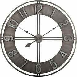 Large Wall Clock Analog Time Patio Pool Brushed Metal Outdoor Indoor Vintage 30quot; $161.29