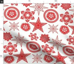 Vintage Christmas Lanterns Paper Lanterns Spoonflower Fabric by the Yard $22.00