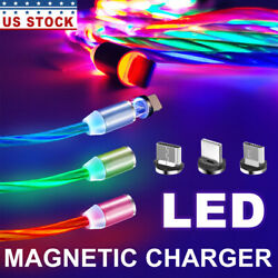 3in1 Magnetic LED Light Up USB light up Charger Cord For iPhone Type C Micro $9.90