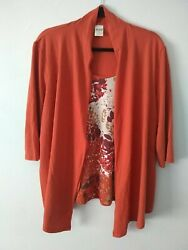 Blair Women#x27;s Blouse Top Size Large with Built in Tanki Fall Flower Shirt $7.00
