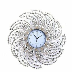 Wall Clock Large Metal Crystal Decorative Circle Fancy Wall Cock Designs for $171.65