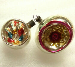 2 Vintage USSR Russian Glass Christmas Ornaments Xmas Decorations Old Lanterns $25.99