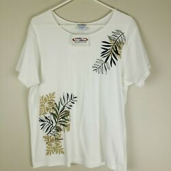 Crazy Shirts Hawaii Women#x27;s Floral Flower T Shirt Top NWT Large White Cotton $24.00