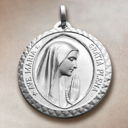 Big Virgin Mary Lourdes Medal Ave Maria Antique Style 925 Sterling Silver $54.99