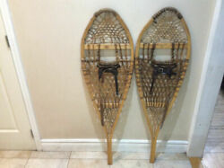 Vintage Wood Snowshoes with leather bindings by Faber 47 inches x 14 inches C $147.00