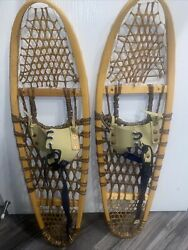 Vintage SNOWSHOES 10x36 Snow Shoes Cowhide w LEATHER BINDINGS Made In Canada $75.00