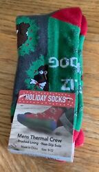 Men Novelty Thermal Crew Sock Christmas Dog in Wreath fits size 9 12 Non Slip $12.00