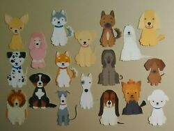 18 pc assortment of DOG BREED diecuts in PRINT for scrapbook greeting card $1.29