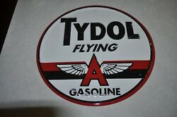 Vintage Tydol Flying A Gas Motor Oil Round 12quot; Metal Sign $40.00
