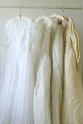 Vintage Wedding Dress Lot of 3 1950s 1970s As Is Lot Resell $124.00