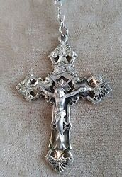 ELABORATE Heavy Rock Crystal Vintage 1960#x27;s Sterling Chapel Rosary 24quot; 58g $225.00