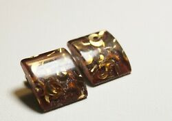 Vintage Earrings Confetti Lucite Gold Tinsel Moons Clip on Square Domed $16.00