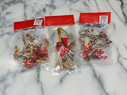 Lot 3 Vtg HERALD FROSTED CHRISTMAS ORNAMENTS Broom Heart Star Rustic Decorations $14.99