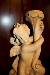 VINTAGE 16quot; WOOD HAND CARVED FLYING CANDLE HOLDER ANGEL WALL CHERUB PUTTO STATUE $399.00