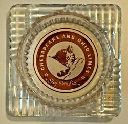Vintage Glass Ashtray Chesapeake And Ohio Lines Railroad quot;Sleep Like A Kittenquot; $9.99