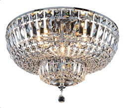 ASFOUR CRYSTAL FOYER DINING ROOM KITCHEN FLUSH MOUNT CHANDELIER 8 LIGHT 20quot; $1300.00